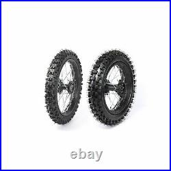 12MM Front +Rear 60/100-14 80/100-12 wheel rim+tire+tube+Disc Rotor CRF70 CRF110
