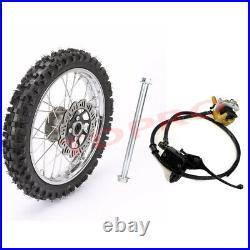 12mm Axle 60/100-14 Front Rim Wheel Tire + Disc Brake Assembly for Pit Dirt Bike
