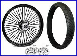 23 3.5 Fat Front Wheel Black Tire BW Package 08-20 Harley ABS Dual Disc Touring