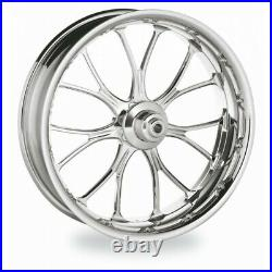 PM Chrome 23x3.5 Front Dual Disc Heathen Wheel Harley FLH With ABS Rotors Tire