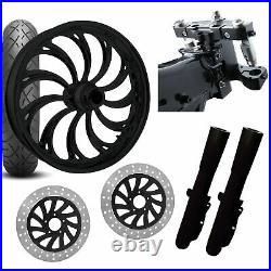 RC 26 Calypso Black Wheel Tire Neck Rake Front End Package Harley Dual Disc