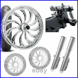 RC 26 Calypso Chrome Wheel Tire Neck Rake Front End Package Harley Dual Disc
