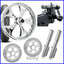 RC 26 Holeshot Chrome Wheel Tire Neck Rake Front End Package Harley Dual Disc