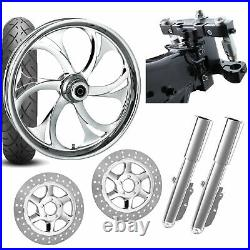 RC 26 Recoil Chrome Wheel Tire Neck Rake Front End Package Harley Dual Disc