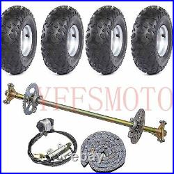 Rear Axle Brake Disc Hub +4PCS 145/70-6 wheel rim tire T8F Chain Quad ATV Bike