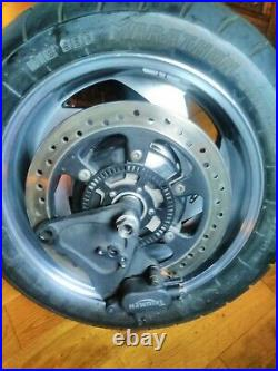 Triumph Rocket 3 rear wheel, tyre, disc, brake calliper and wheel spindle